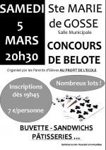 Concours de belote samedi 5 mars 2016 à Ste Marie de Gosse – 40