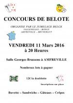 Concours de belote le 11 Mars 2016 à 20H à AMFREVILLE