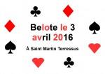 concours de belote le 3 avril 2016 à 87400 Saint Martin Terressus