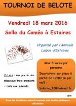 Concours de belote le 18 mars 2016 à Estaires – Nord