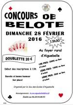 concours de belote dimanche 28 Février 2016 à Aiguebelle – 73