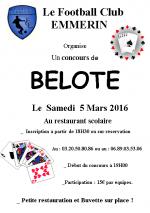 Concours de belote du Football Club EMMERIN le 05/03/2016