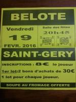 Concours de belote le 19 février 2016 à Saint Géry
