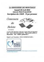 concours de belote 30 avril 2016 à 85600 la Boissière de Montaigu