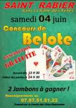 concours de belote le 4 juin 2016 à 24210 Saint Rabier