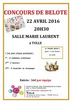 Concours de belote le 22 avril 2016 à Tulle – Corrèze