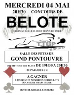 Concours de belote mercredi 4 mai 2016 à 16160 Gond Pontouvre