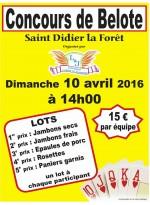 Concours de Belote le 10 avril 2016 à 03110 Saint Didier la Forêt