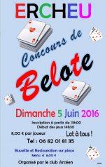 Concours de Belote Dimanche 5 Juin 2016 à Ercheu