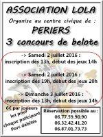 3 concours de belote le 2 et 3 juillet 2016 à Périers