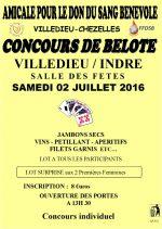 Concours de belote le 2 juillet 2016 à Villedieu sur Indre 36000
