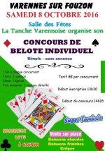 Concours de belote samedi 8 octobre 2016 à Varennes sur fouzon