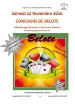 Concours de belote samedi 12 novembre 2016 à 26800 Portes Les Valence
