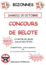 concours de belote le 15 octobre 2016 à Bizonnes – Isère