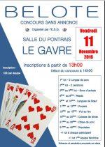 Concours de Belote le 11 novembre 2016 à Le Gavre