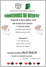concours de belote le 5 novembre 2016 à 62223 Sainte-Catherine