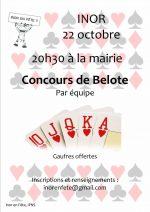 Concours de belote le 22 octobre à 55700 Inor