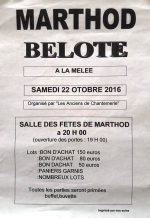 Concours de belote le 22 octobre 2016 à Marthod 73400