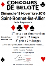 Concours de belote – Saint-Bonnet-lès-Allier – Dimanche 13 novembre 2016