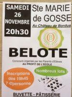 Concours de belote le samedi 26 novembre 2016 à 40390 Sainte Marie de Gosse