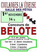 concours de belote le 1er novembre 2016 à 89580 Coulanges la Vineuse