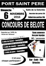 concours de belote dimanche 6 novembre 2016 à 44710 Port Saint Père