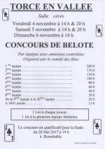 Concours de belote les 4-5-6 Novembre 2016 à 72110 Torcé en Vallée