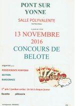 Concours de belote le 13 novembre 2016 à Pont sur Yonne 89140