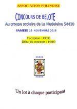 Concours de belote samedi 19 novembre 2016 à La Madeleine 54410
