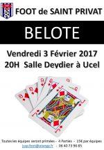 Concours de belote le vendredi 3 février 2017 à Ucel 07200