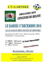 Concours de belote samedi 17 décembre 2016 à Arnèke (59285)
