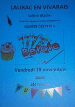 Concours de belote vendredi 18 novembre 2016 à Laurac en Vivarais