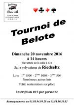 Concours de belote le 20 novembre 2016 à 67160 Riedseltz
