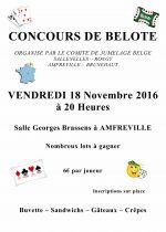 Concours de belote d'automne le 18 Novembre 2016 à Amfreville