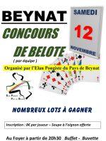 concours de belote le 12 novembre 2016 à 19190 Beynat
