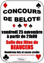 concours de belote le 25 novembre 2016 à 65400 Beaucens