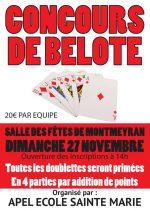 Concours de belote le dimanche 27 novembre 2016 à 26120 MONTMEYRAN