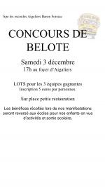 Concours de belote le 3 décembre 2016 à 30700 Aigaliers