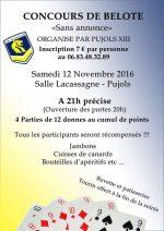 concours de belote le samedi 12 novembre 2016 à Pujols 47300
