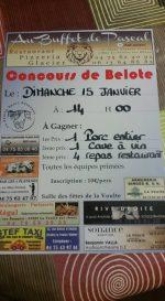 Concours de belote le 15 janvier 2017 à 07800 La Voulte sur Rhône