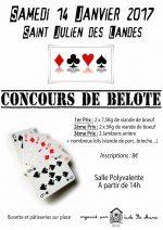Concours de belote le 14 janvier 2017 à 85150 Saint Julien des Landes