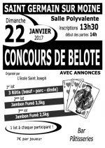 Concours de belote le 22 janvier 2017 à 49230 Saint Germain sur Moine