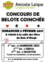 Concours de belote coinchée dimanche 5 février à Le Bois d'Oingt 69620