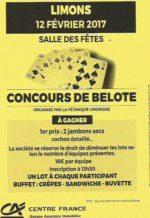 Concours de belote le 12 février 2017 à 63290 Limons