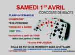 Tournoi de belote le 1er avril 2017 à 51700 Montigny Sous Chatillon