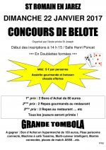 Concours de belote le 22 janvier 2017 à St Romain en Jarez