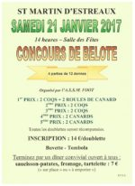 Concours de Belote le 21 Janvier 2017 à 42620 Saint Martin d'Estréaux