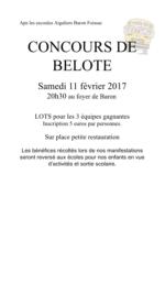 Concours de belote le 11 février 2017 à Baron