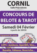 Concours de Belote et Tarot le 4 février 2017 à Cornil – Corrèze