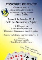concours de belote samedi 14 janvier 2017 à 47300 Pujols